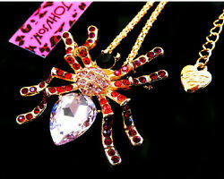 Betsey Johnson Crystal Spider Brooch Pendant Charm Necklace Chain Free Gift Bag