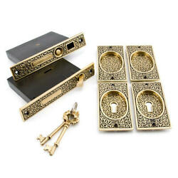 Small Rice Pattern Double Pocket Door Mortise Lock Privacy Blackened Brass