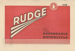 1936 Rudge Motor Cycle Catalogue Antique Reproduction