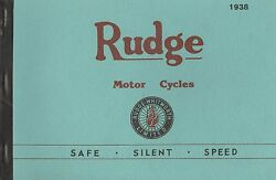 1938 Rudge Motor Cycles Catalogue Antique Reproduction