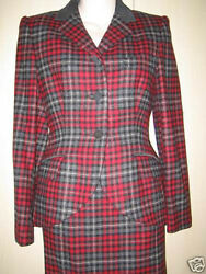 Laura Ashley Black, Grey And Red Check Wool Skirt Suit With Suede Trim Uk10 Eu36