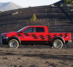 Side Racing Checkered Flag Graphic Stripe Decal Sticker Van Truck Vehicle Suv Us