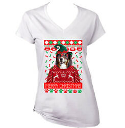 Black Collie Christmas WHITE COTTON LADY TSHIRT