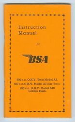 B.s.a. Motor Cycle 500 C.c. And 650 C.c. Ohv Maintenance Manual- Antique Repro