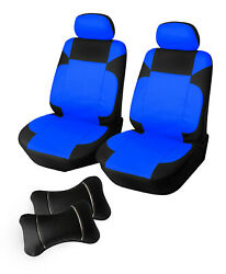 Pu Leather 2 Front Car Seat + Pillows To Audi 853 Pl Black/blue