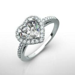 Si2 Halo Diamond Ring 1.75 Ct Womens Appraised 14k White Gold Size 4 1/2 - 9
