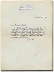 Carson Mccullers / Typed Letter Signed