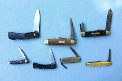 Knife Knives Lot Mixed Estate Find Asis Old Usa Made Unusual Pocket Bag 4 Wy
