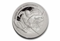 2017 5oz Cook Islands 25 Spider-man Homecoming Pf70 Pure Silver Mercanti Coin