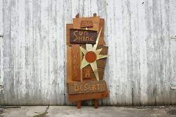 Vintage Mid Century Modern Desert Wooden Sculpture Wall Hanging Sign - Retro Art