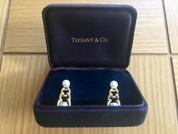 And Co 2 Pearls 18k Yellow Gold Graduated Link Dangle Earrings In Box
