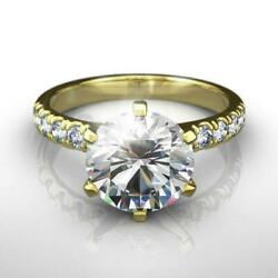 Diamond Ring Round Side Stones 1.75 Carat Si1 14 Kt Yellow Gold Size 4.5 5 6 7 8