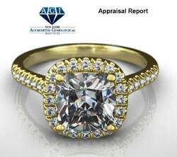 14 Kt Yellow Gold Halo Diamond Ring Accented Anniversary Colorless 1.59 Ct Real