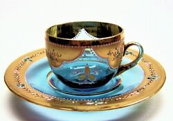 Demitasse Cups And Saucers Moser Art Glass From Russia,1800's