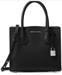 New MICHAEL KORS MERCER Studio MD Bonded messenger Leather tote bag black silver $152.99