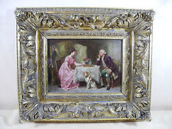Antique Oil Painting By J L G Ferris Lovers Afternoon Tea At The Game Table