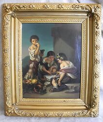 Antique Framed Oil Painting On Copper Children Playing Game And Dog