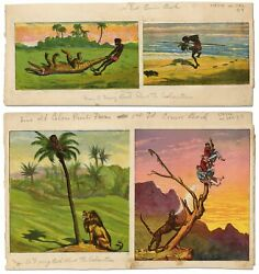 Ernest H Griset / Four Color Prints From Legends Of Savage Life 1867