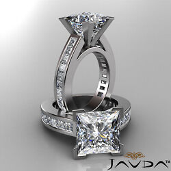 6.4ctw. Classic V Prong Princess Diamond Channel Set Engagement Cathedral Ring
