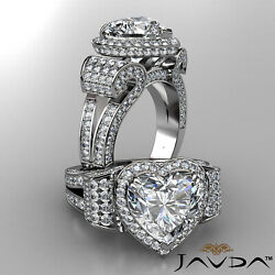 Antique Style Circa Halo Heart Diamond Engagement Pave Split Shank Ring 6.83 Ct