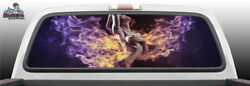 Sexy Winged Fantasy Woman Fire Hot Perforated Window Graphic Decal Suv Car Truck