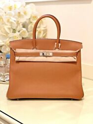 HERMES Birkin 35 Gold color with  Togo Leather and Silver hardware