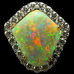 The Rainbow Shield Opal! 25.6 cts Solid Crystal Opal-18k White Gold VS1 G 5.8tcw