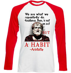 ARISTOTLE WE ARE QUOTE - NEW RED SLEEVED TSHIRT