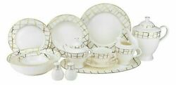 57 Piece Euro Porcelain Luxe Bone China Dinner Serving Dish Set For 8 - White