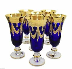 Set Of 6 Interglass Italy Crystal Glasses - Cobalt Blue Italian Champagne Flutes