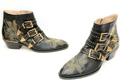 'sussana' Booties Studded Ankle Lambskin Leather Boots Sz 39 / Us 9