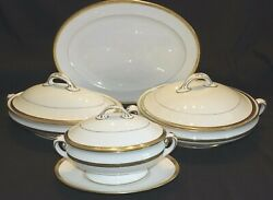 Lenox D9a Platter, Oval And Round Vegetable Bowls, Sauce Boat Embossed Gold Trim