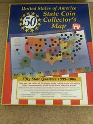 United States Of America 50 State Coin Collectorand039s Map 1999-2008 As Seen On Tv