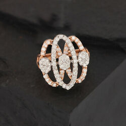 Oval Design Diamond Cocktail Ring Solid Pave 14k Rose/white Gold Jewelry Genuine