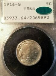 1916 S Buffalo Nickel 5c Pcgs Ms 64 Early Gen Rattler Holder With Cac Sticker