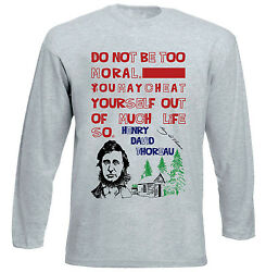 HENRY THOREAU MORAL QUOTE - NEW COTTON GREY TSHIRT $22.16