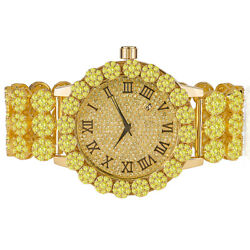 Yellow Gold Tone Full Ice Out Real Diamond Custom Band Canary Khronos Watch Mens
