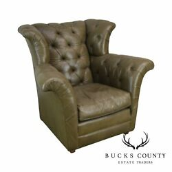 Old Hickory Tannery Green Tufted Leather Wing Chair