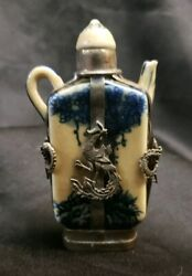 Silver Antique Collection Of Asian Chinese Porcelain Blue Perfume Snuff Bottles
