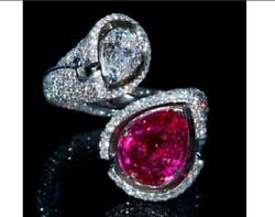 Beautiful Pink Queen 5.50ct Pink Ruby And 1.90ct Cz Engagement 925 Silver Ring