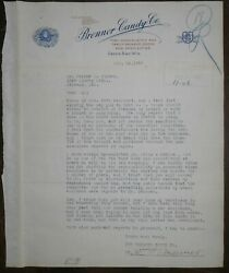 1920 Letterhead Green Bay Wisconsin Brenner Candy Company Signed Brenner
