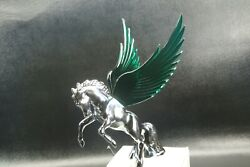 Flying Stallion 40and039s 50and039s Hood Ornament Custom Hot Rod Truck Green Wings