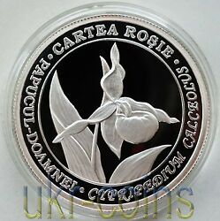 2012 Moldova 1/2 Oz Silver Coin Lady Slipper Orchid Flower Wwf Red Book Wildlife