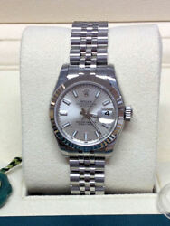 Rolex Datejust Lady 26mm 179174 Silver Baton Dial - Box & Papers 2017 - Unworn!