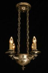 Antique Restored 1920and039s Gothic Tudor Revival 4 Light Silver And Bronze Chandelier