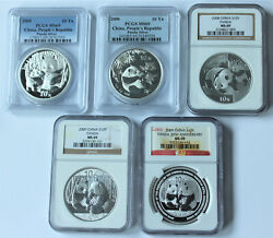 Early Year China Silver Panda 5 Coin Set Ngc And Pcgs All Ms69 2005-2009 S10y 1oz