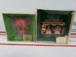 Lot of 2 Hallmark Tree-Trimmer Collection Mouse Red Green Ornament Jolly Trolley