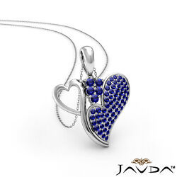 0.75ct. Round Sapphire Gemstone Double Duo Heart Womenand039s Pendant Necklace