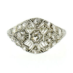 Antique Art Deco 18k Gold 1ct Old Cut Diamond Dome Filigree Dinner Cocktail Ring