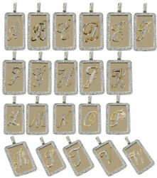 Men Rectangular Dog Tag Shape Real Genuine Diamond Initial Letter Chain Necklace